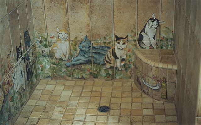 Roman Shower Design With Cats Eclectic Artwork San