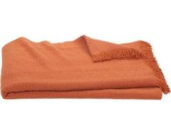 Linen Twill Orange Throw contemporary-throws