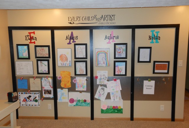 art display wall craft station kid 39 s toy room eclectic
