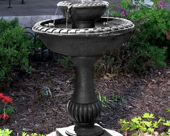 Outdoor Classics Gardens Solar on Demand Two Tiered Birdbath Fountain -