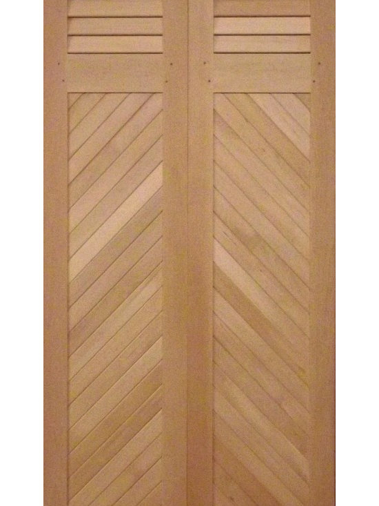 Closet Doors - Our combination fixed louvers and tongue & groove doors are also available with a Herringbone pattern.