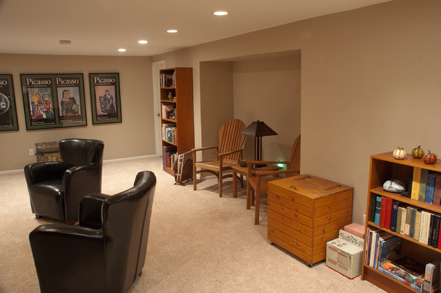 New Fireplace Transforms Cold Basement into Warm Family Room traditional-family-room