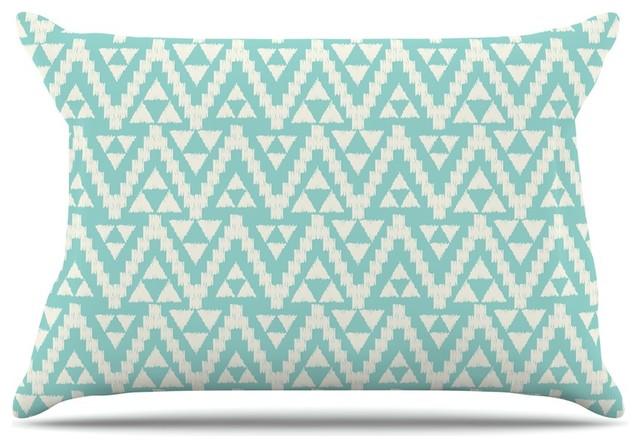 Amanda Lane Geo Tribal Turquoise Sky Teal Aztec Pillow
