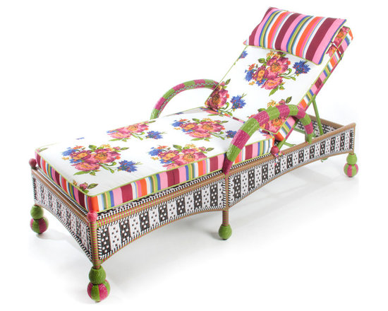 Flower Market Outdoor Chaise | MacKenzie-Childs - Incredibly comfortable and very fun. Our garden chaise is available with a reversible Flower Market or Greenhouse cushion. The recliner back adjusts to several positions. Weatherproof, hand-woven synthetic material on powder-coated iron. Sturdy, easy care, and made to withstand the elements.