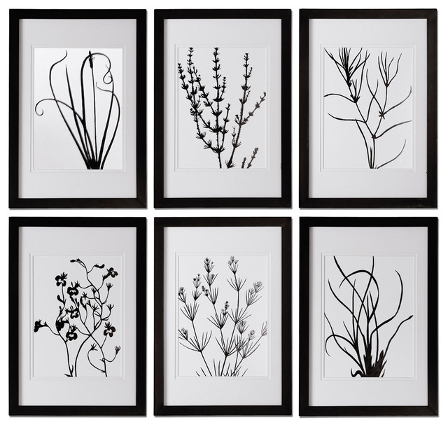 Uttermost 41404 black and white leaves framed art set of 6 for Modern black and white wall art