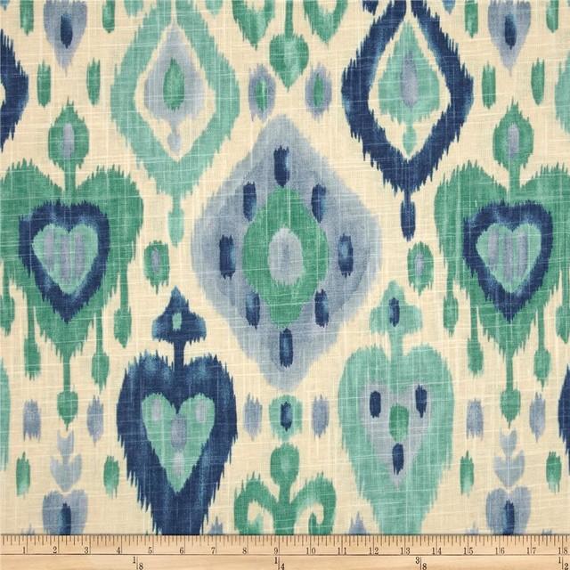 Richloom Ikat Django Fabric, Turquoise contemporary-fabric