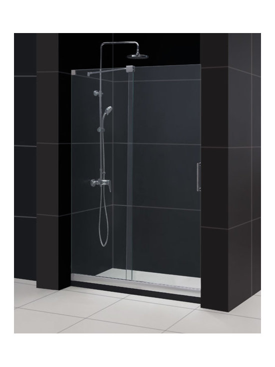 """Dreamline - Mirage 44 to 48"""" Frameless Sliding Shower Door, Clear 3/8"""" Glass Door - The Mirage shower door delivers a unique design and the look of custom glass at an unbelievable value. Most sliding shower doors require substantial aluminum framing, but the Mirage uses innovative hardware to provide the space-saving benefits of a sliding door without compromising the beauty of a completely frameless glass design"""