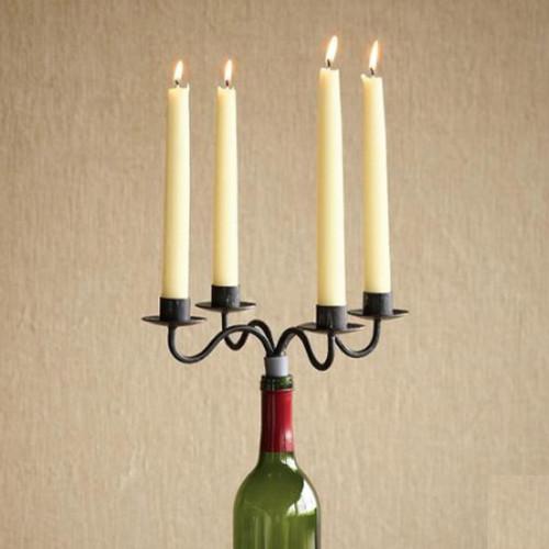 WINE BOTTLE CANDELABRA, SET OF 2 eclectic-candleholders