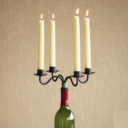 Wine bottle candelabra set of 2 eclectic for Champagne bottle candle holders