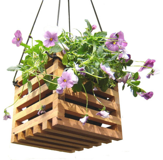 Hanging Basket Planter From Reclaimed Wood By andrewsreclaimed contemporary-outdoor-pots-and-planters