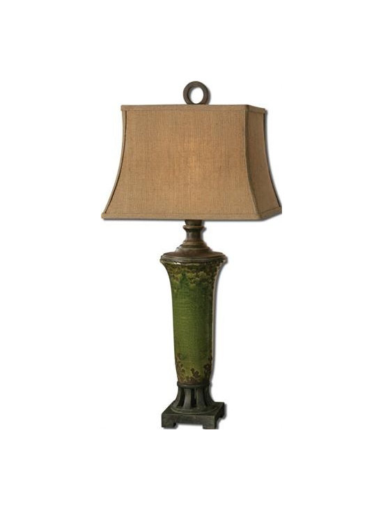 Uttermost Olea - Distressed crackled green ceramic with rust bronze undertones and details. The rectangle bell shade is a burlap linen fabric with natural slubbing.