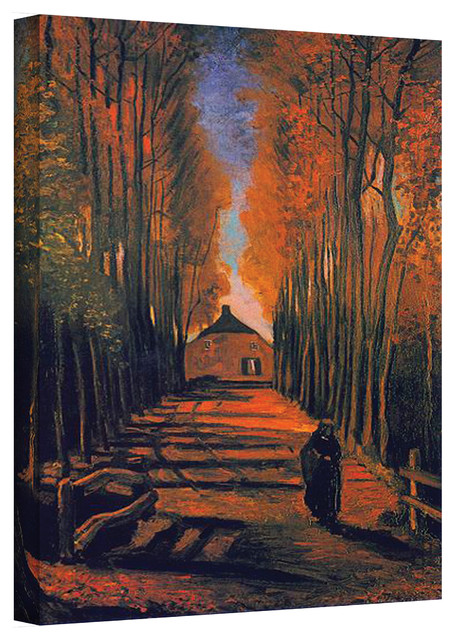 Vincent van Gogh 'Avenue of Poplars in Autumn' Wrapped Canvas Art contemporary-artwork