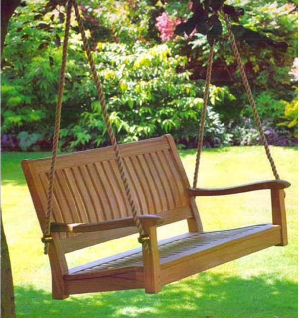 ... Things Cedar 4-ft. Roosevelt Teak Porch Swing traditional-porch-swings