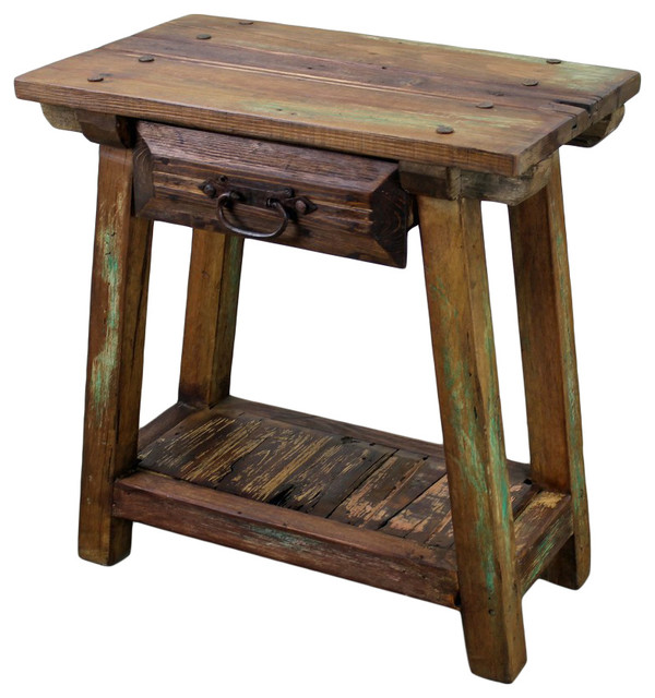 Recycled Pine Wood End Table With Drawer Rustic Side