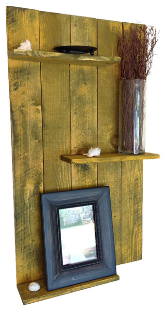 Reclaimed Wood Wall Shelf, Yellow rustic-storage-units-and-cabinets