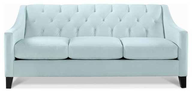 Chloe Fabric Velvet Metro Living Sofa, Seafoam contemporary-sofas