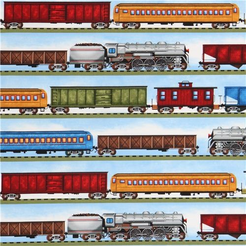 Blue freight train in stripes fabric by timeless treasures for Train print fabric