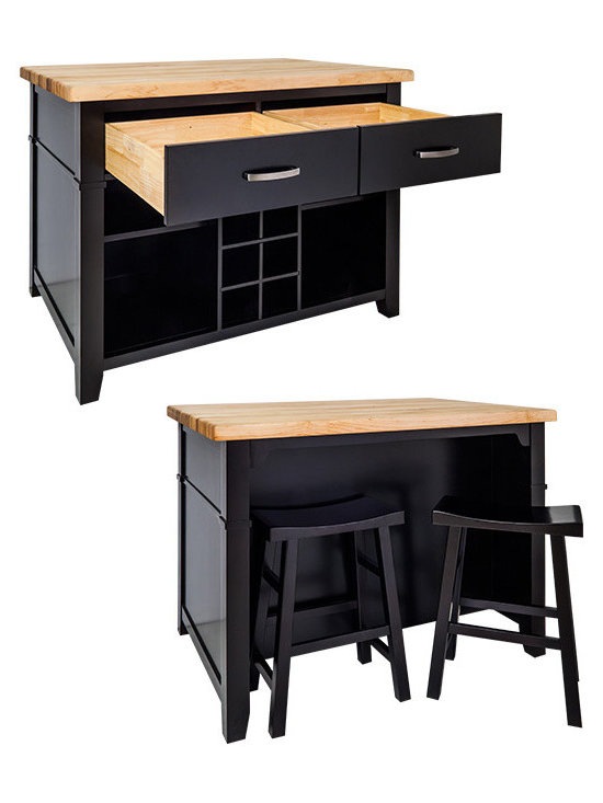 """Inviting Home - Delray Kitchen Island with Bar Stools (black) - Boston table style kitchen island in distressed black finish; Delray kitchen island with bar stools; Two matching saddle stools included; 17-1/2"""" x 11-3/4""""x 23-3/4"""" 1-3/4"""" hard maple Delray butcher block top sold separately; This furniture style island is manufactured using the highest quality furniture grade hardwoods and MDF. This slab front island features two working drawers removable center wine rack and adjustable open shelves on one side and seating space on the other. The deep drawers are dovetailed solid hardwood and are mounted on full extension undercount soft-close slides; Espresso finish is applied by hand. Two matching saddle stools included (17-1/2"""" x 11-3/4""""x 23-3/4""""). Hard maple edge grain Delray butcher block top sold separately."""
