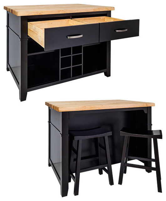 Delray Kitchen Island With Bar Stools (black