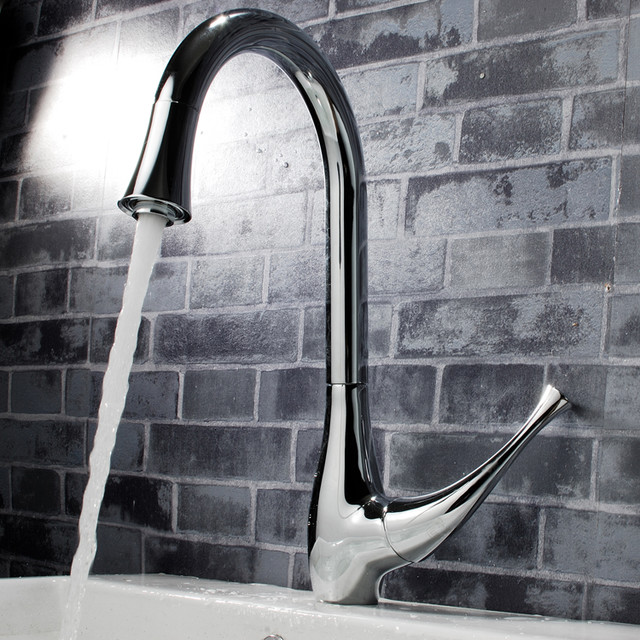 Single Handle Kitchen Sink Faucet Chrome Modern