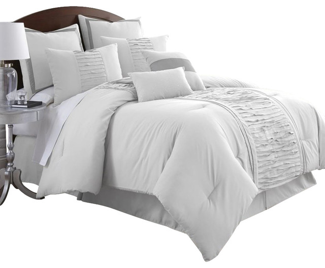 Marilyn Embellished Off White 8 Piece Comforter Set King Off White Contempo