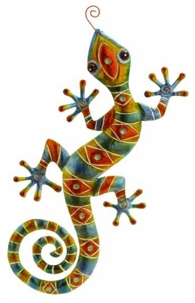 Tribal Gecko Lizard - Eclectic - Artwork - by METAL WALL ART LLC