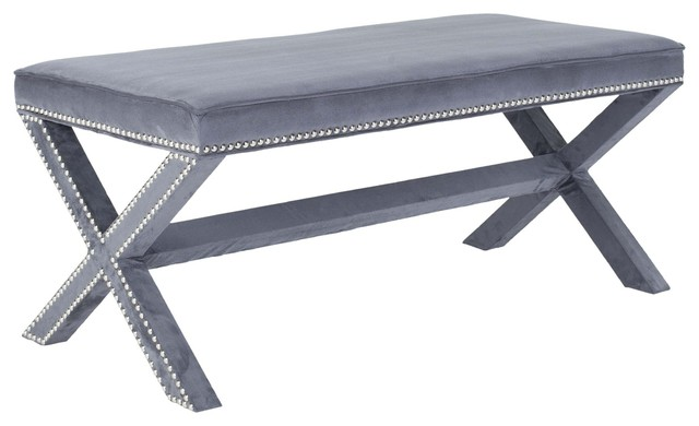 Safavieh Melanie Extended Bench Grey X-E7164RCM traditional-living-room-chairs