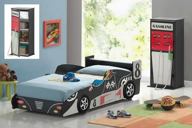 Kids Twin Size Race Car Bed