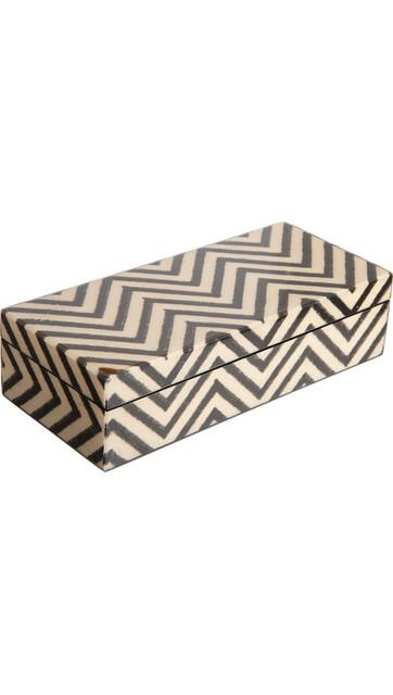 Madeline Weinrib Black Chevron Pencil Box desk-accessories