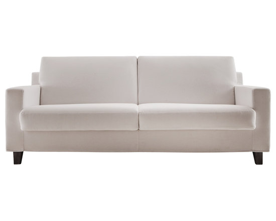 """Vibieffe - CIAK Sofa Bed 75"""", Wenge Stain Legs - Simplicity, functionality, research and balance of volumes all come together in this greatly versatile design. Bed is a European full size mattress (55""""x79""""). Seat and back cushions in foam and dacron. Fully removable fabric cover is a mid-grade Cotton Polyester blend. Available with wood or metal feet. Made in Italy."""