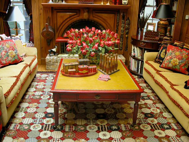 Distressed red coffee table from old wood traditional-coffee-tables