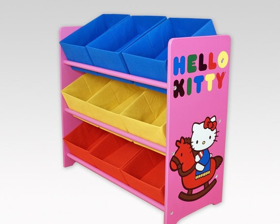 Kids Furniture - Hello Kitty fabric storage bins is a colorful way to organize a child's room. The cute storage unit comes with nine fabric bins that fit snugly on the shelves. Use it as a toy box, for clothes, or for storage. However you use it, with the beloved Hello Kitty helping, picking up a room will be a breeze.