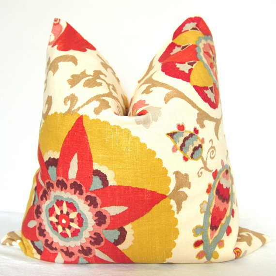 Pillow Cover Suzani Sage Blue, Red, Yellow, Brown By kyoozi contemporary pillows