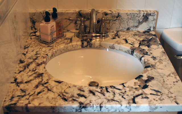 Arctic White vanity top traditional