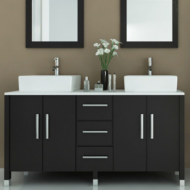 Luxury  Modern Double Sink Bathroom Vanity W Side Cabinet Amp Integrated Sinks