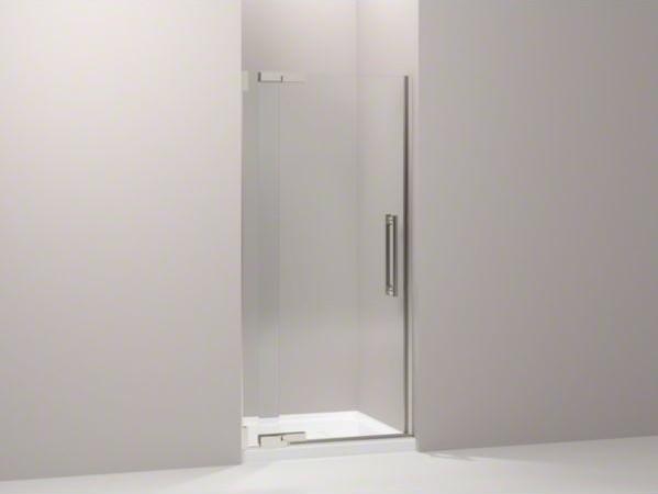 "KOHLER Purist(R) pivot shower door, 72-1/4"" H x 33-1/4 - 35-3/4"" W, with 1/2"" th contemporary-shower-doors"