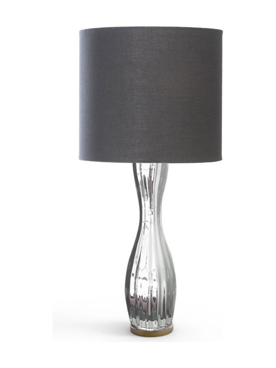 CreativeMary - St Germain Table Lamp - St Germain Table Lamp features a Black lycra shade and a Glass with Mirror finish. One 40 watt, 120 volt A19 type Medium base incandescent bulb is required, but not included. 15.7 inch width x 35.4 inch height.