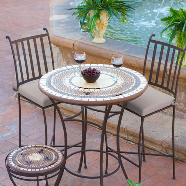 Aluminum Mosaic High Dining Set Mediterranean