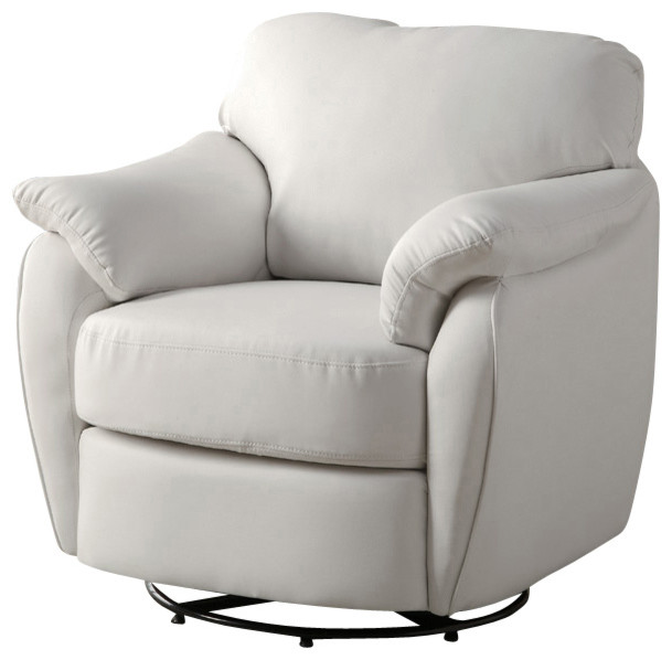 Swivel Leather Chair Living Room Part   20: Leather Look Swivel Accent Chair  In White Part 36