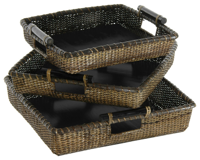 Rattan Square Tote with Pole Handles ( Set of 3 ) traditional-baskets