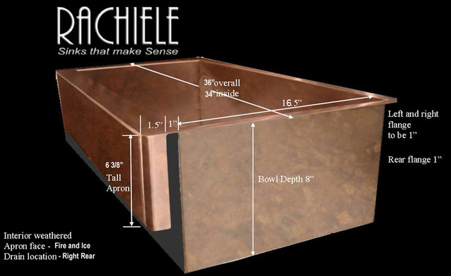 Copper apron sink with patented channel to allow for for Rachiele sink complaints