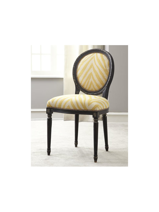 """Old Hickory Tannery - Old Hickory Tannery """"Gretna"""" Yellow Side Chair - Exotic upholstery encased in dark wood makes this chair a striking addition to any living space. Handcrafted of maple with rayon/linen upholstery. Nailhead trim. 22.5""""W x 22""""D x 38""""T; seat, 20""""T. Imported of domestic materials. Boxed weight, approx..."""