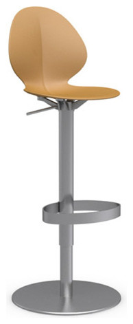 Basil Swiveling Bar Stool, Chrome Frame, Mustard Yellow modern-bar-stools-and-counter-stools