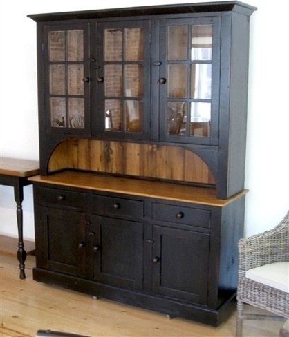 6 Door 3 Drawer Black Hutch - Farmhouse - China Cabinets And Hutches - boston - by ECustomFinishes