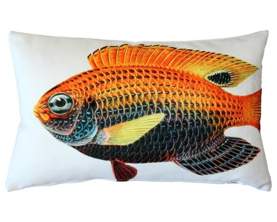 Pillow Decor - Pillow Decor - Princess Damselfish Fish Pillow 12 x 20 - This double sided Princess Damselfish decorative pillow is printed on both sides with the head and body of the fish on the front and the tail on the back. Printed on an indoor outdoor spun polyester fabric.