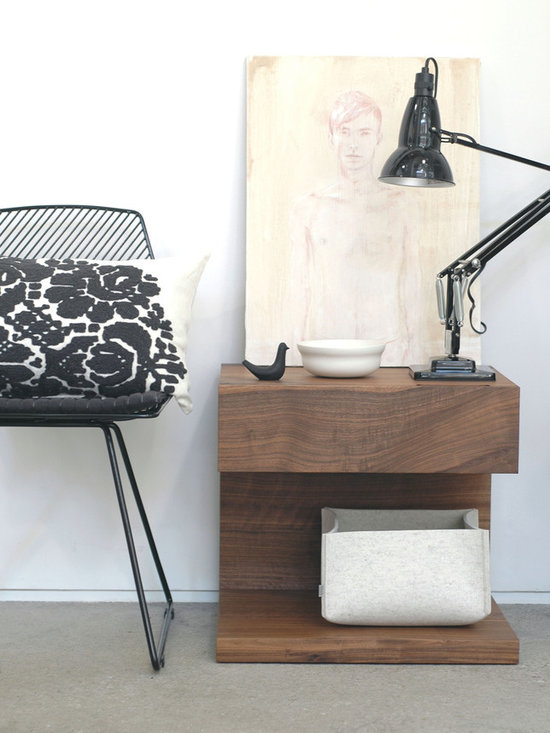 Provide Accessories - Charlene Mullen cushion, Bend seating, Christian Woo end table, Anglepoise lighting, David Burns artwork, Daff felt box