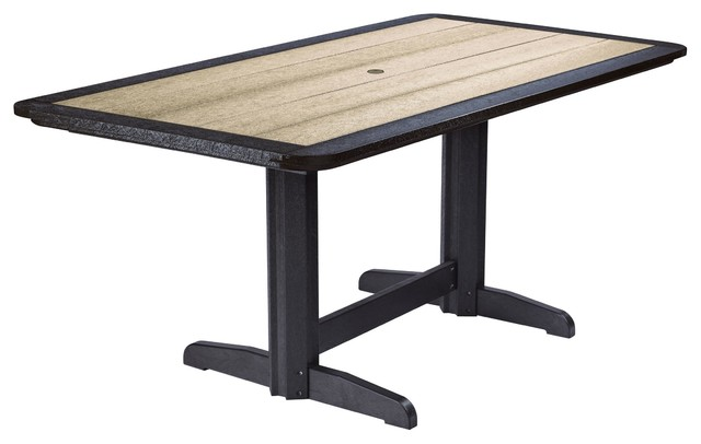 Double Ped Dining Table In Two Tone Contemporary Outdoor Dining Tables
