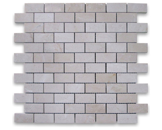"Stone Center Corp - Spanish Crema Marfil Marble Subway Brick Mosaic Tile 1x2 Polished - Crema Marfil Marble 1x2"" brick pieces mounted on 12x12"" sturdy mesh tile sheet"