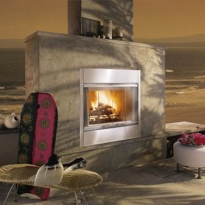 Majestic al fresco wood burning outdoor fireplace insert Contemporary wood fireplace insert
