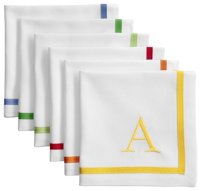 Grosgrain Border Cocktail Napkins, Set of 4 contemporary-table-linens